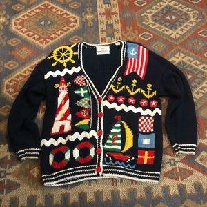Hand knitted nautical cardigan, Marisa Christina